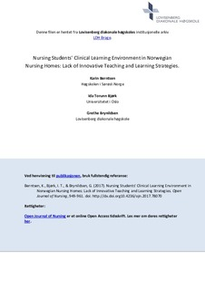 Nursing Students' Clinical Learning Environment in Norwegian